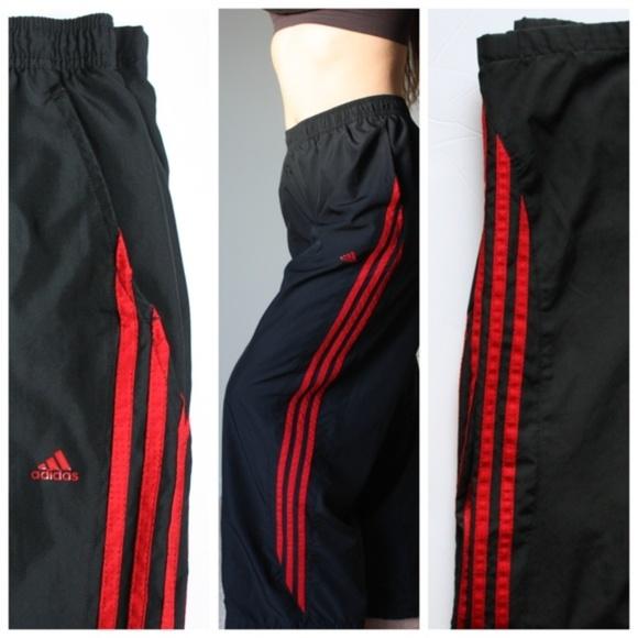 6e87377b Adidas Black Track Pants Red Stripes Mesh Lined XL